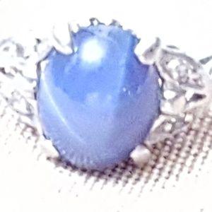 Diamond and star sapphire ring